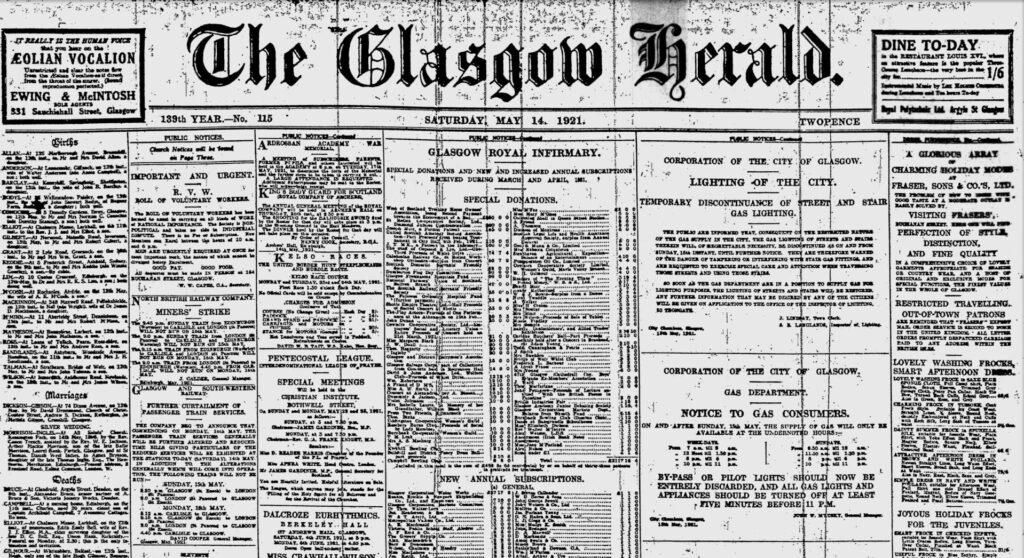 Newspaper Glasgow Herald